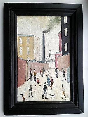 Unsigned Old Northern School Art Original Oil Painting in Frame Industrial Scene
