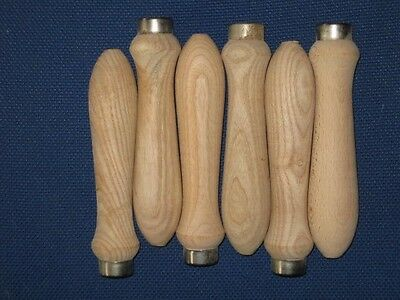 """Wooden File Handles 6"""" with metal ferule and pre-drilled for shank"""
