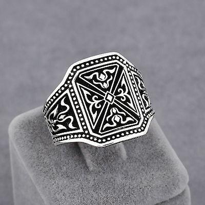 Templar Knight Theme Men's Ring Size 7-12 Handmade Jewelry 925 Sterling Silver