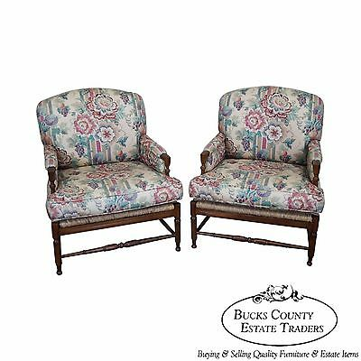 Henredon French Country Pair of Fauteuil Lounge Chairs