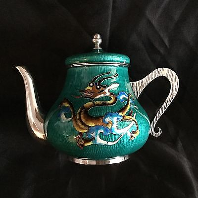 Sterling Silver And Enamel Tea Pot Decorated With Dragons, Beautiful And Large.