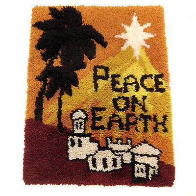 """Latch Hook Wall Hanging Peace on Earth Christmas Decor Completed 26.5"""" x 20"""""""