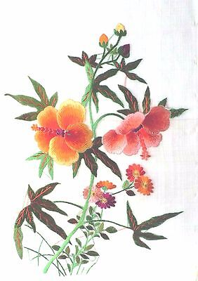 Vintage Chinese Polychrome Embroidery Silk Hand Needlework~ Flower #1103