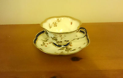 Delightful George Jone Crescent China Scalloped Gilt Blue Cup And  Saucer