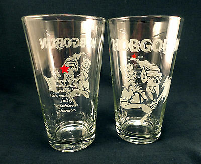 Hobgoblin Brewing Special Promo Beer Pint Glasses Mint Frosted Glass Logo