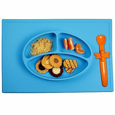 Silicone Placemat Food Plate Table Mat For Kids Ezpz Non Slip + Silicone Spoon