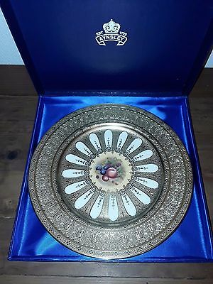 Stunning Aynsley Orchard Gold Gilded Cabinet Plate Mint In Box