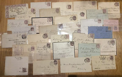 1881 1d Lilac collection of 27 covers, 2 fronts and 2 fiscal usages, see scans