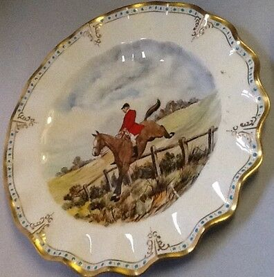 Royal Crown Derby Vintage Horse & Rider Plate, Hand Painted signd CM Pell