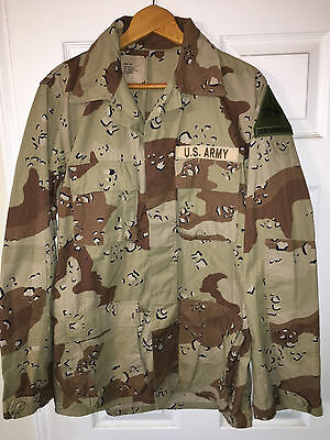 GENUINE DESERT STORM ERA US ARMY 1st ARMORED CHOCOLATE CHIP 6 COLOR SHIRT COAT