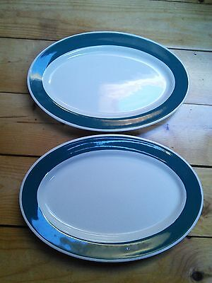 Two Iroquois China oval Platters Syracuse NY Green Rim