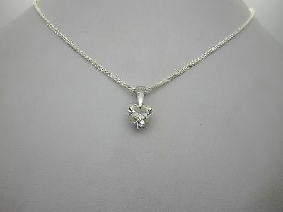 """Stunning Solid Silver & White Heart Stone Set Drop Pendant & 20"""" Necklace 925"""