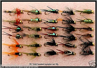 TROUT FLY FISHING FLIES S33-10 GOLD HEADED NYMPHS for use with rod reel & line.