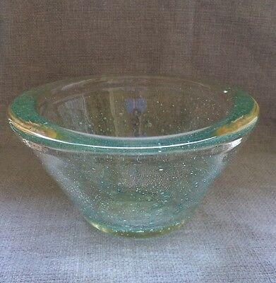 Schneider French Bubble Art Glass Bowl, acid etched 1949 - 1955, heavy