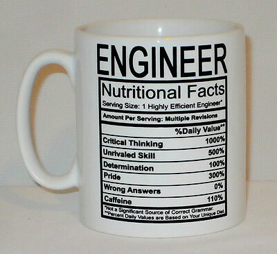 Engineer Nutritional Facts Mug Can Be Personalised Funny Work Tea Coffee Gift