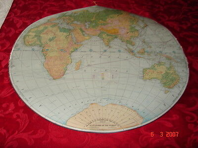 FLAT GLOBE OF THE WORLD - Wm. H. Wise & Co., New York -1941 - Adm. Peary