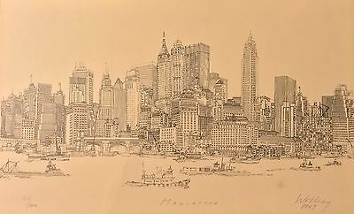 1967 Richard Welling Framed Drawing NYC Skyline