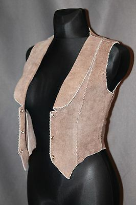 Women Waistcoat suede Leather Individual perfect S Size, brown color