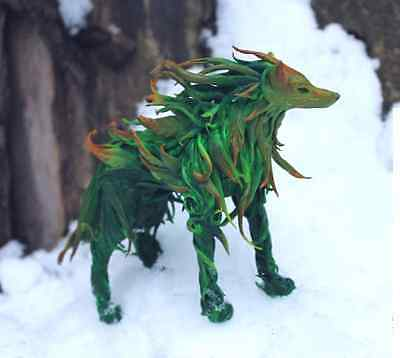 Wolf,green wolf,herbal,wolf figurine,forest,wolf statuette,wolf sculpture,green