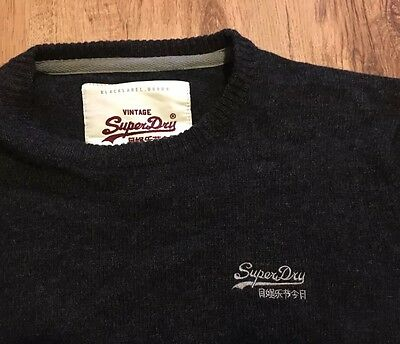 Men's Superdry Premium Black Label • 100% Lambswool Jumper • UK Large