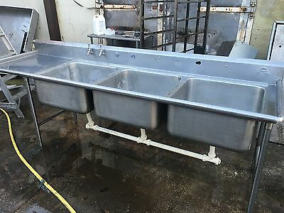 Commercial catering stainless steel triple three bowl sink
