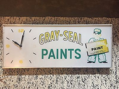 Vintage Antique Gray Seal Paints Clock Sign Light COOL! Lighted FREE SHIP