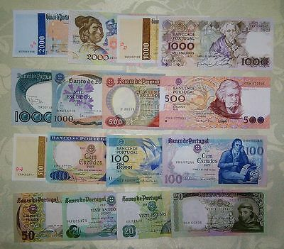 Portugal Lot 16 notes - 20, 50, 100, 500, 1000 and 2000 escudos - XF/AUnc