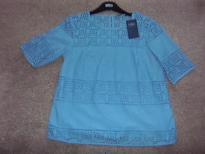 Ladies Top New M And S Blue Size 12 With Tags