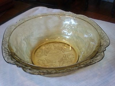 """VINTAGE  """"Madrid"""" made by Federal Glass Co. in the 1930's GOLD CLEAR BOWL"""