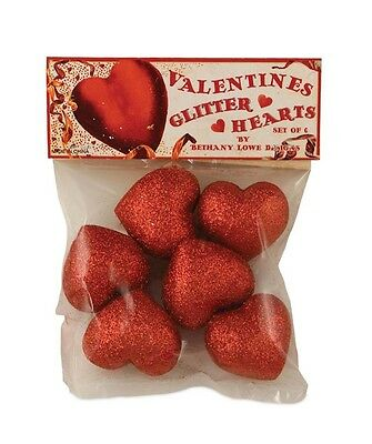 """Bethany Lowe """"Valentine Glitter Hearts"""" (Set of 6) in bag (LC6345)"""
