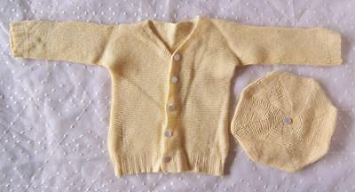 Vintage HANDMADE KNITTED Baby/Infant SWEATER & MATCHING HAT/BERET/TAM Doll/Bear