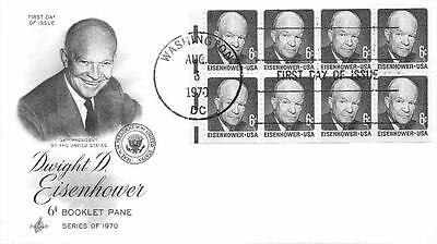 1393a 6c Dwight D. Eisenhower Booklet Pane, First Day Cover Cachet [Q160938]