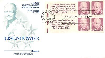 1395c 8c Dwight D. Eisenhower Booklet Pane, First Day Cover Cachet [Q161163]