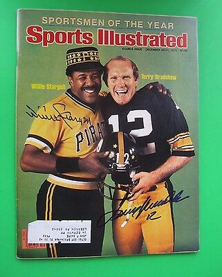 Terry Bradshaw Willie Stargell Signed/autographed Sports Illustrated Psa/dna