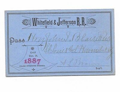 1887 Whitefield & Jefferson Railroad