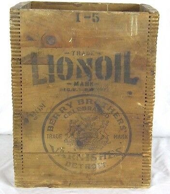 Antique Lionoil Berry Brothers Varnish Varnishes Detroit Mich Dovetail Wood Box