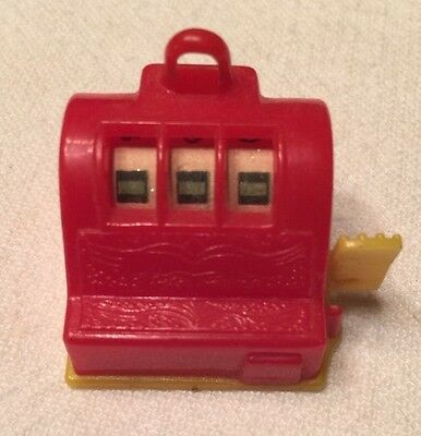 Vintage SLOT MACHINE Miniature Plastic TOY Charm poker Casino Gambling WORKS red