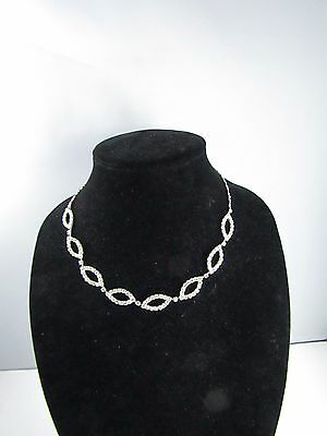 Vintage Clear Rhinestone Chain Necklace Silver Tone Metal 17 - 20 ""