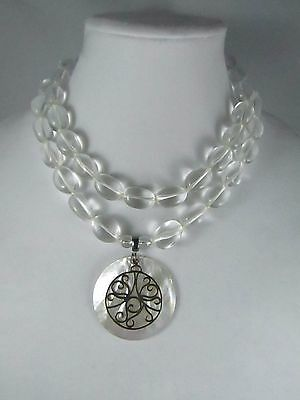 Vintage 925 Clear Glass Beaded MOP Silver Tone Round Pendant Necklace 20 ""