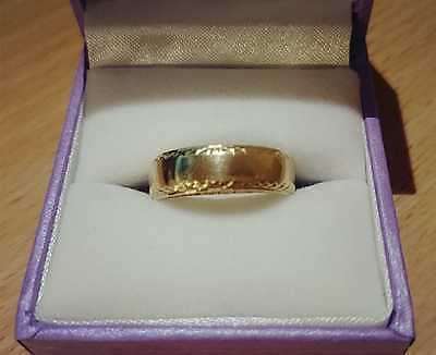 Solid 9K yellow gold wedding band ring