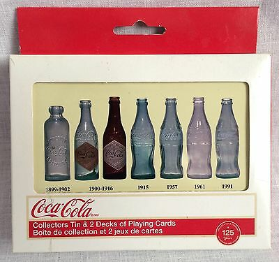 Coca Cola Playing Card Vintage Bottles Carton Double Deck in Collector's Tin