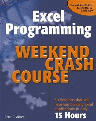Excel Programming Weekend Crash Course,PB,Peter G. Aitken - NEW