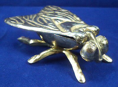 Vintage 1968 BRASS Insect Fly MATCH STRIKER Hinged Wings Ashtray Holder Ornament