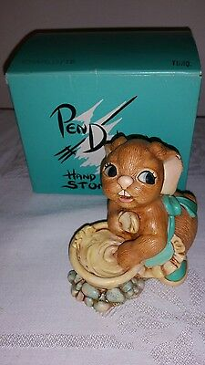 Pendelfin Rabbits Charlotte Boxed Turquois Made in England Hand painted Retired