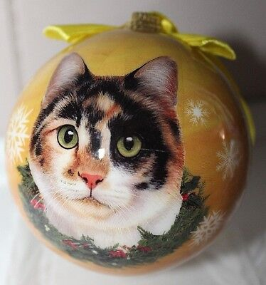 Calico Cat Holiday Shatterproof Christmas Ball Ornament