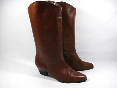 Vintage Ipanema Western Dress Boot Women size 8 b Brown Leather