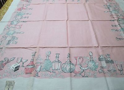 1950's Leacock Quality Hand Prints Linen Tablecloth Luncheon Setting Decanters
