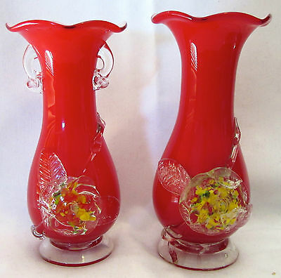 Vintage Red Pair Vase Floral Blown Glass Murano Like x 2 Decorative Art Decor Of