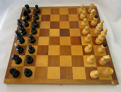 Vintage Chess Wooden Game Board Collectables Toys Hobbies Games Brown Black in