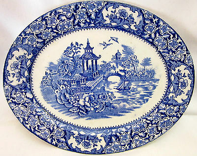 Vintage English Plate Platter Blue and White Decorative Made in England Art